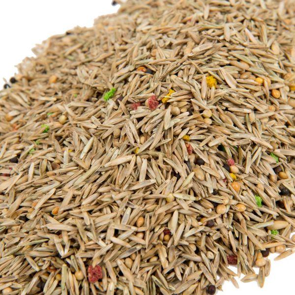 Mengsel diverse gras- en vogelzaden close up
